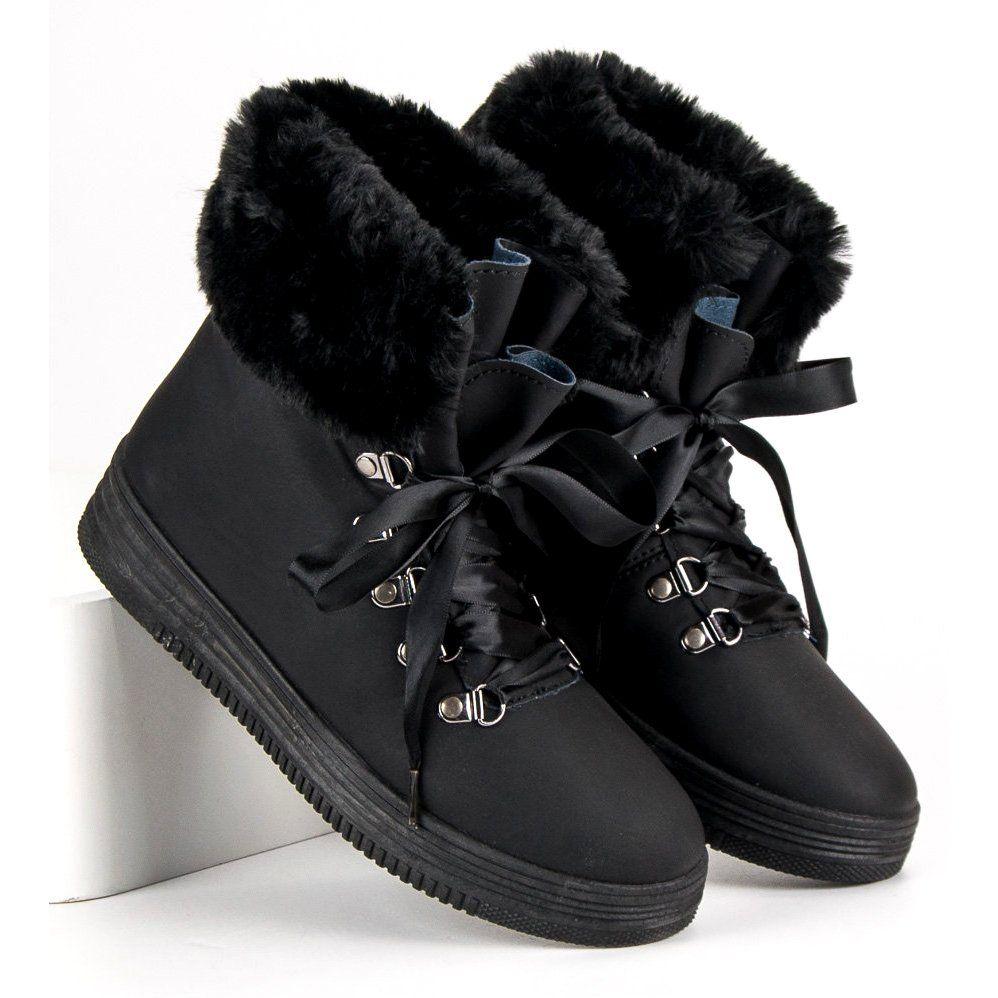 Czarne Sniegowce Z Futerkiem Winter Boot Boots Shoes