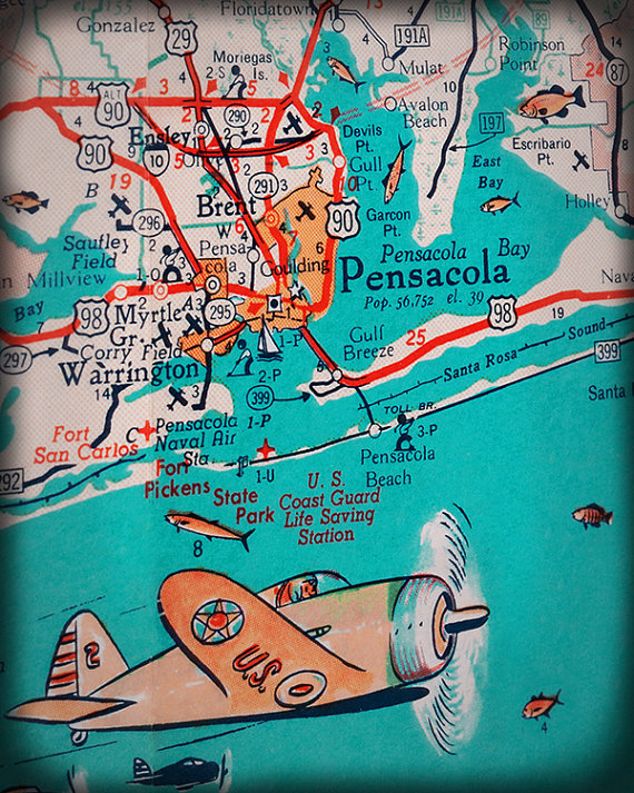 Map Of Pensacola Florida.Florida Panhandle Pensacola Beach Retro Map Print Funky Vintage