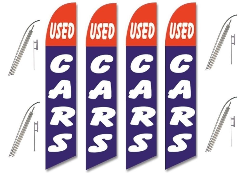 Used Car Windless Swooper Flag Kit 4 Pack USED CARS Red/Blue w/ Big White Text #CarLotPromotions #UsedCarAutoDealerBusinessAdvertisingFlags