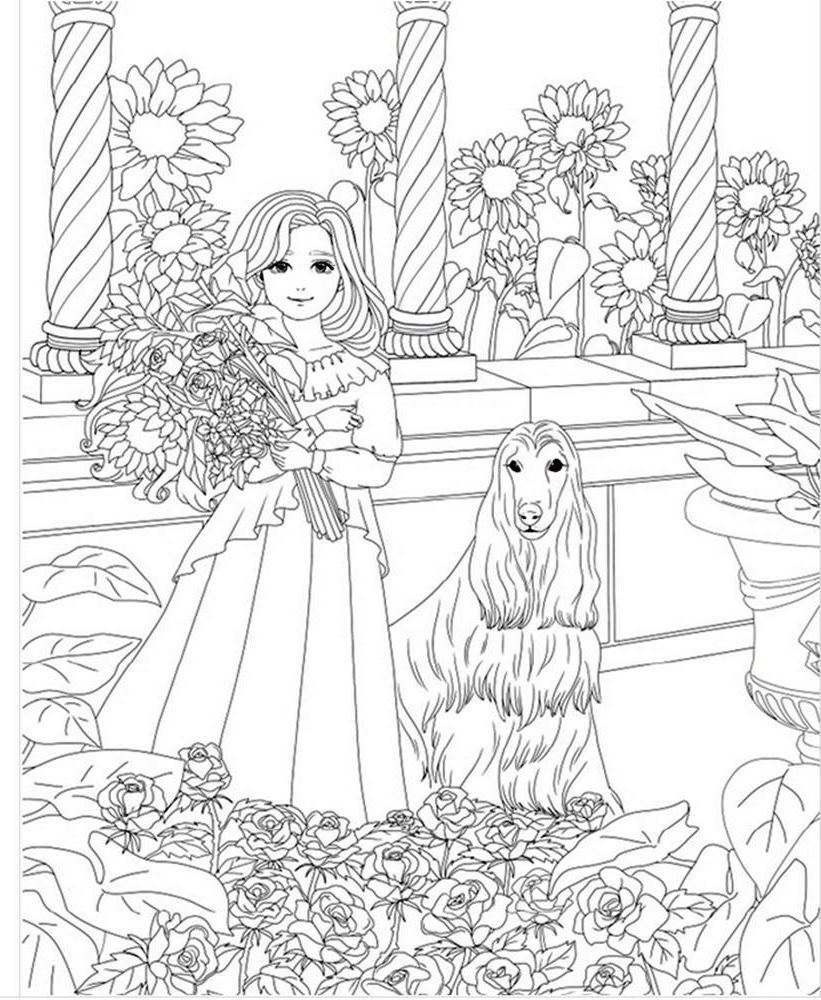 girl dog coloring coloriage coloriar