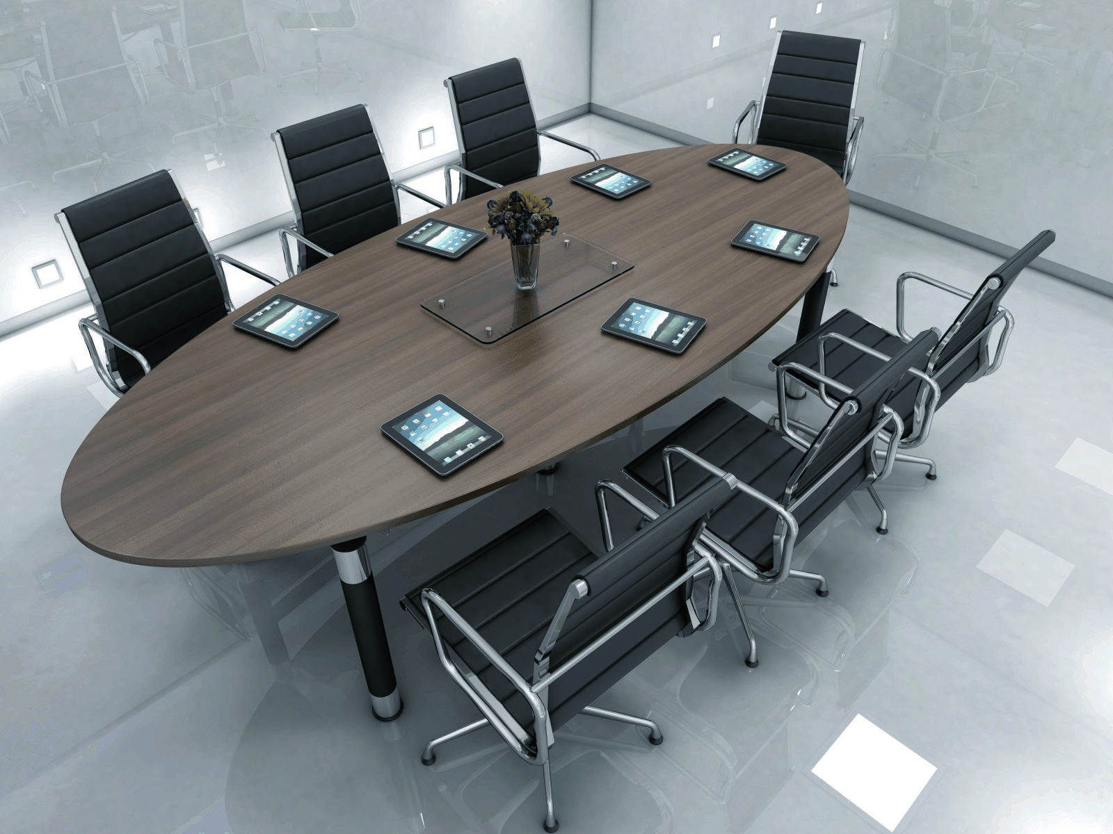 Meeting Room Tables Dark Wood Oval Meeting Room Desk And Black Chairs Dark Wood
