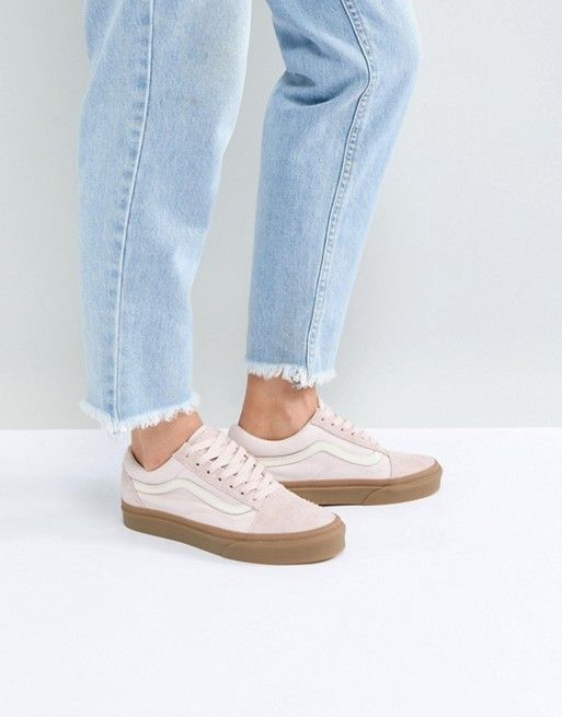568f37066a Vans Old Skool Unisex Sneakers In Pink Fuzzy Suede With Gum Sole