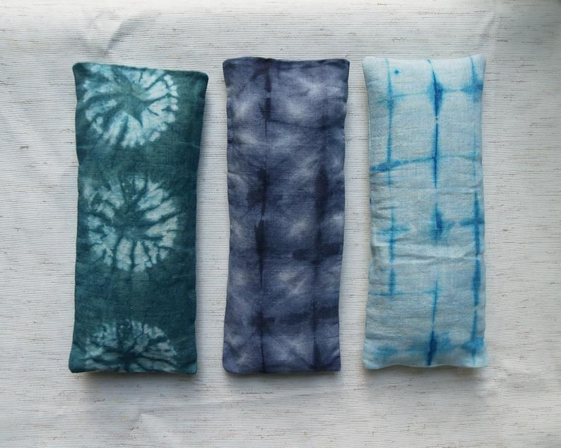 Flax Seed And Buckwheat Eye Pillow With Removable Cover In Hand Dyed Watercolor Pattern For Yoga Meditation And Relaxation Eye Pillows Watercolor Pattern Pillows