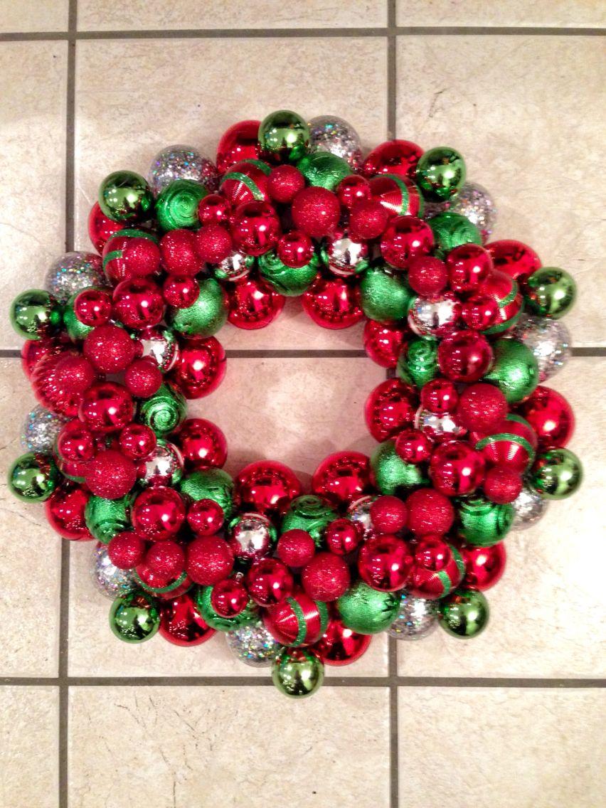 My DIY, ornament ball wreath! It was fun but bad idea to