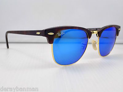 ray ban clubmaster blue lenses  Ray Ban Clubmaster Flash Lens RB3016 1145/17 51mm Lens \u0026 Case ...