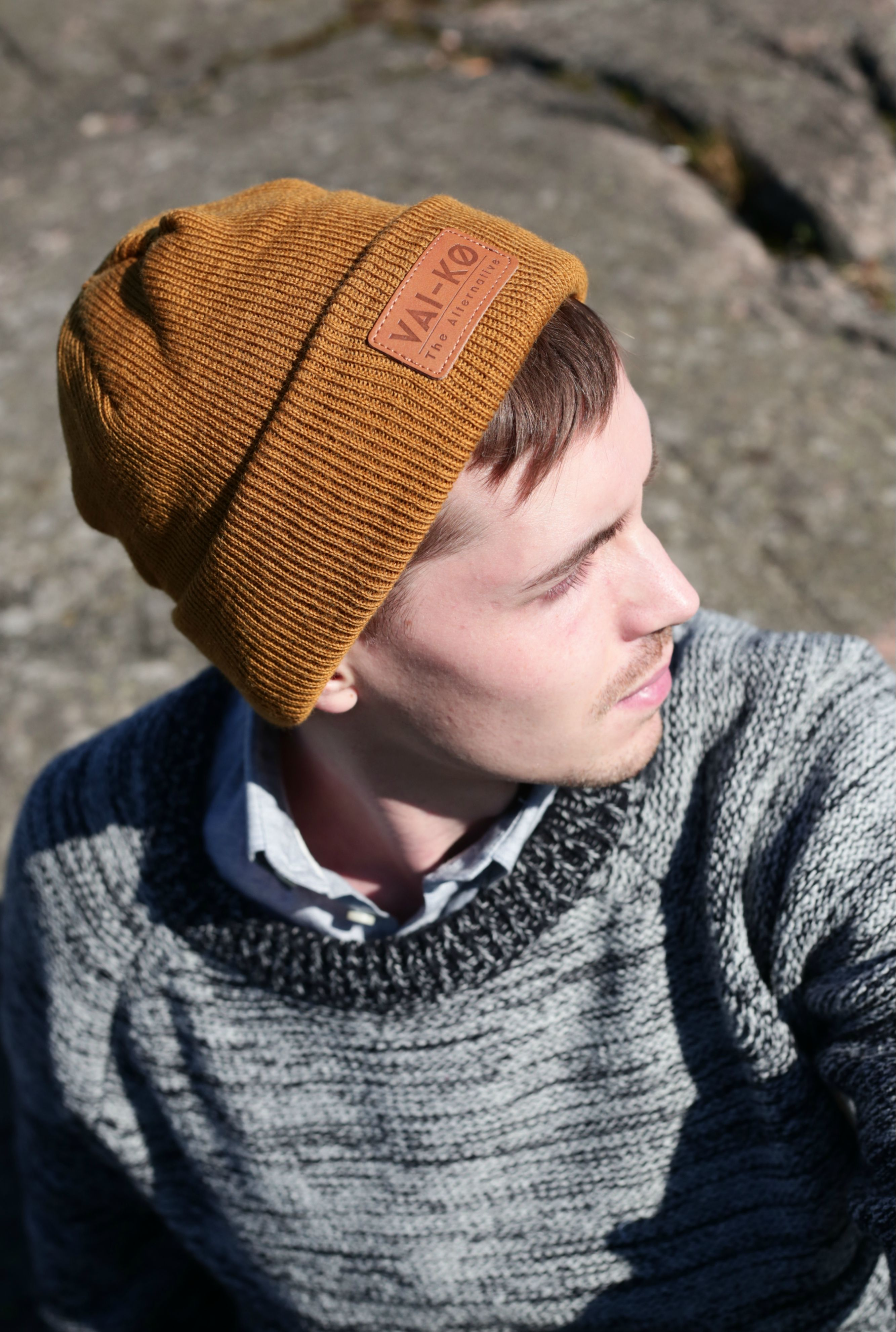 ad932c5a9ef63 Mens Wool beanie in Brown. Organic Merino Wool Beanie and cardigan outfit  for fall   autumn.