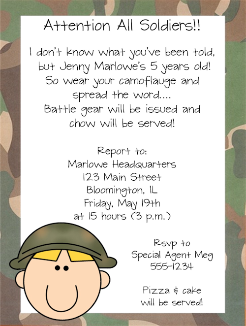 army military soldier boy birthday party invitations or i could