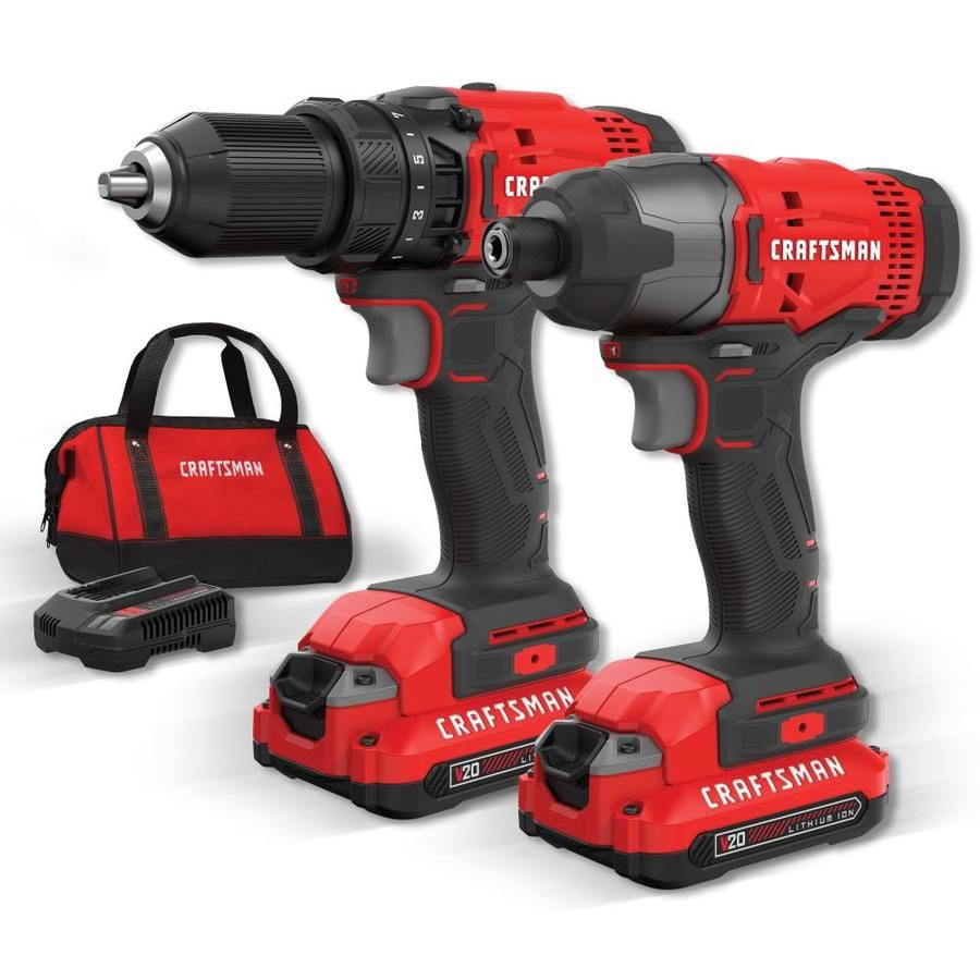 Craftsman V20 2 Tool 20 Volt Max Power Tool Combo Kit With Soft Case Charger Included And 2 Batteries Included Cmck200 In 2020 Power Tool Set Craftsman Power Tools Cordless Power Tools