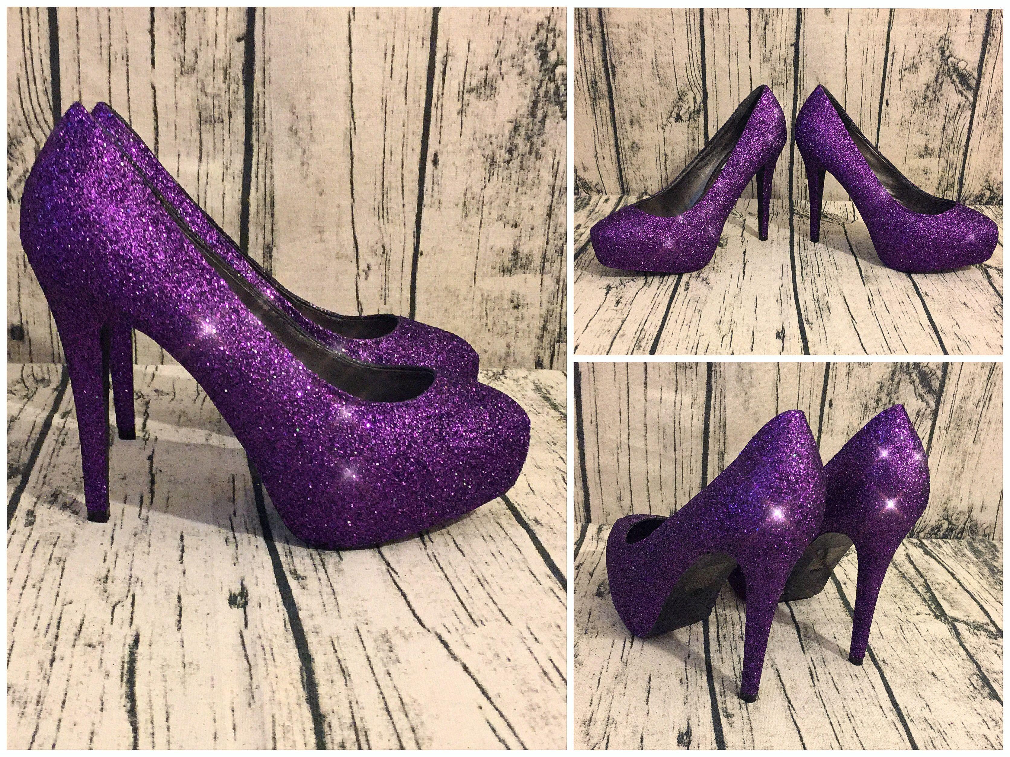 Women S Sparkly Plum Dark Purple Glitter High Or Low Heels Wedding