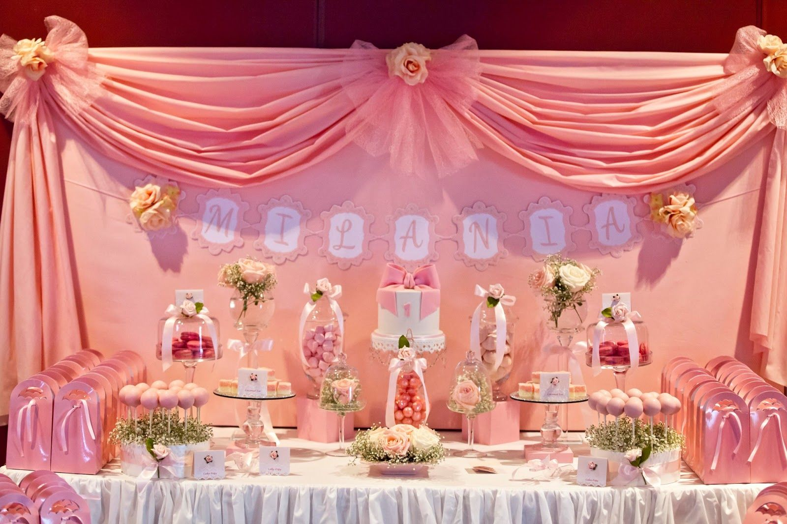 Birthday table decorations for girls - Bows And Pink Roses Themed Table For Milani S Birthday And Christening By Little Wish Cakes