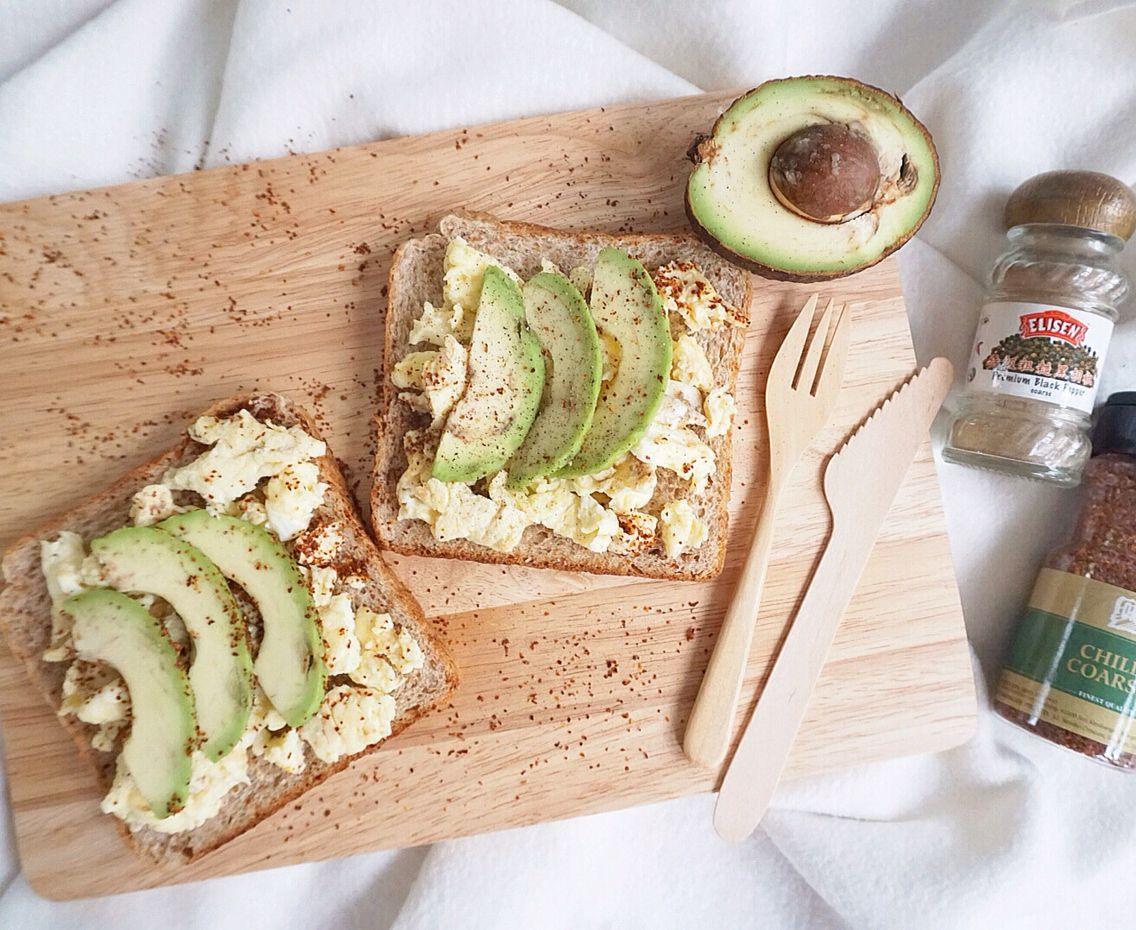 Avocado and scrambled egg toast