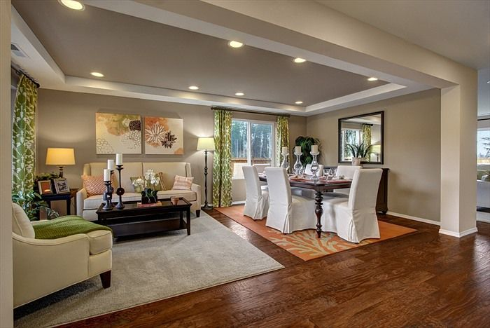 An Open Area Living And Dining Room Concept Two Area Rugs Are