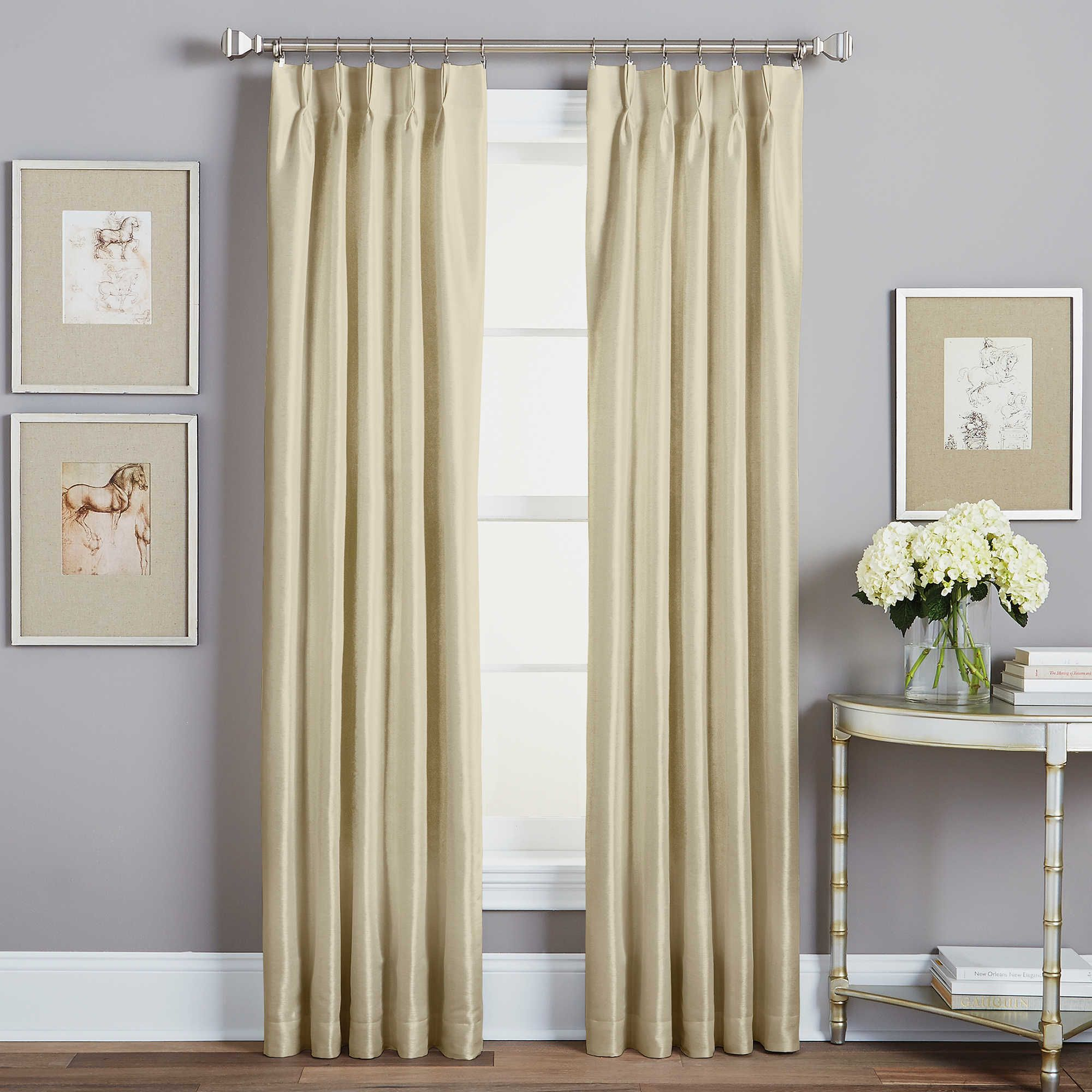 Back tab curtains on traverse rod - Spellbound Pinch Pleat Window Curtain Panel Can Be Hung Via Back Tab As Pleated Drapes Or With Clips