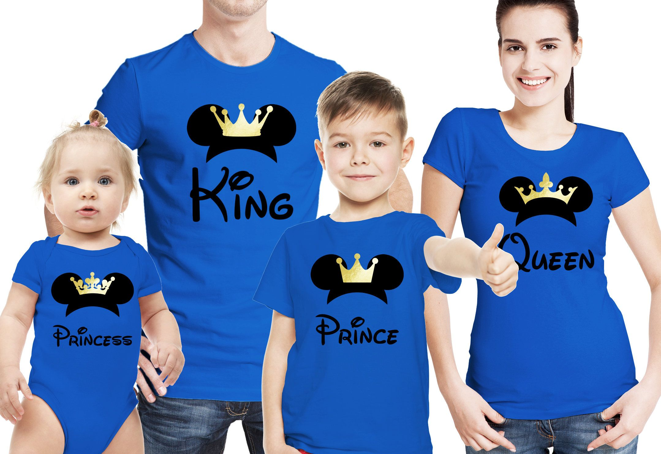 Family Mickey Mouse King Queen Prince Princess Blue T Shirts Set
