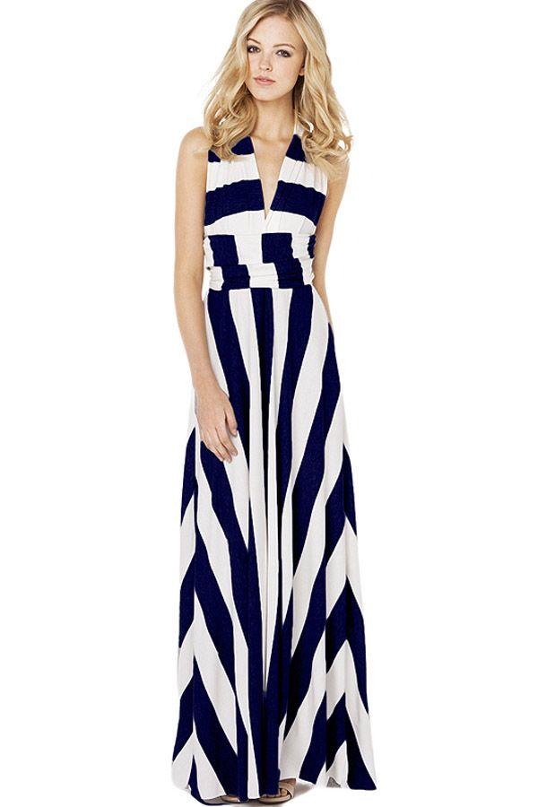 424738a76118 Dark Blue Stripe Versatile Maxi Dress | I want | Striped maxi ...