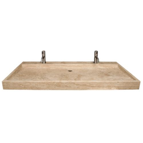 Travertine Trough Sink on top of bamboo vanity Bath Design