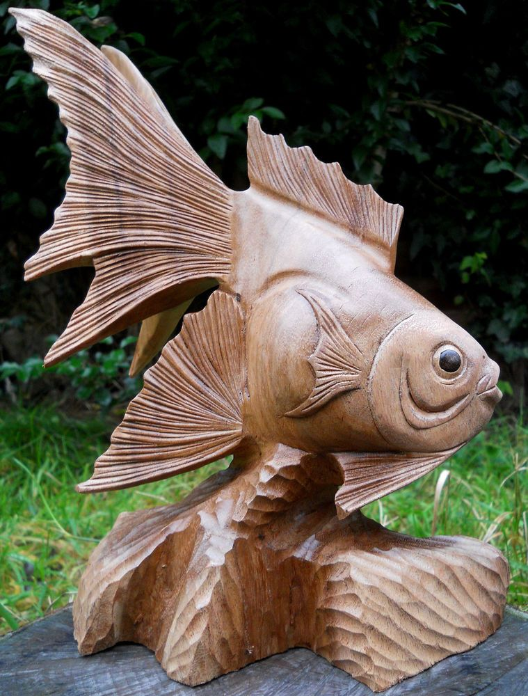 Amazing carved large wooden figure fish brown colour cm