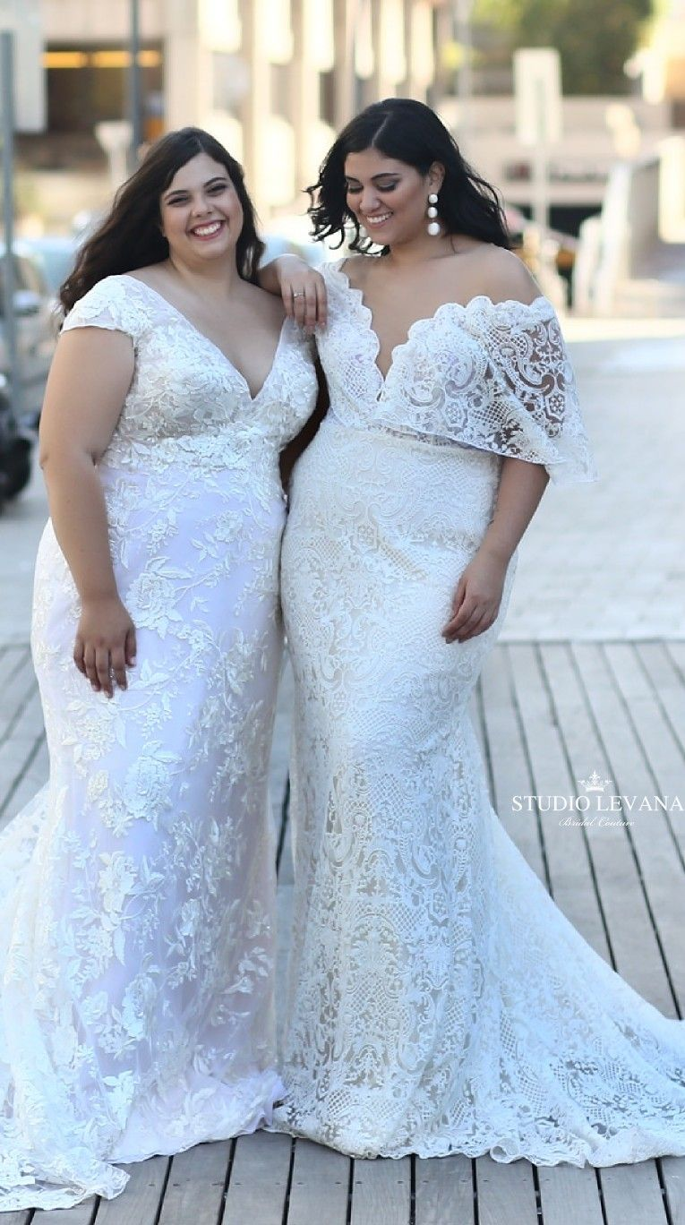 Plus Size Lace Mermaid Wedding Gowns With Trains From Studio Levana And Babe By: Plus Size Wedding Dress Trains At Reisefeber.org
