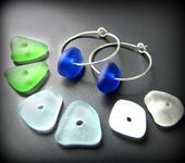 Sea Glass Jewelry Hoop Earrings  Four Pairs of Drilled Seaglass Sterling Silver wBlue Green White  Aqua  8 pieces total Jewellery
