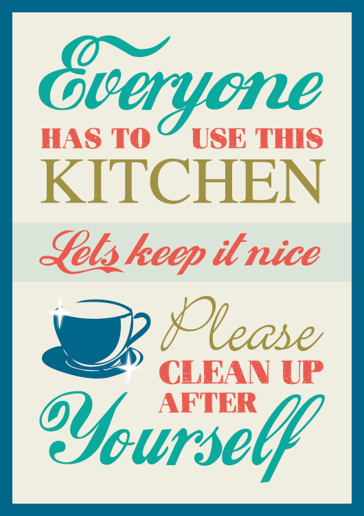 Kitchen Signs For Work