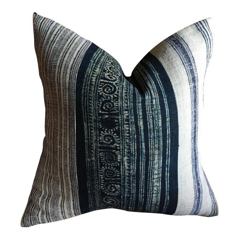 Indigo Batik Hemp Striped Woven Pillow Products Pillows Decorative Pillows Throw Pillows