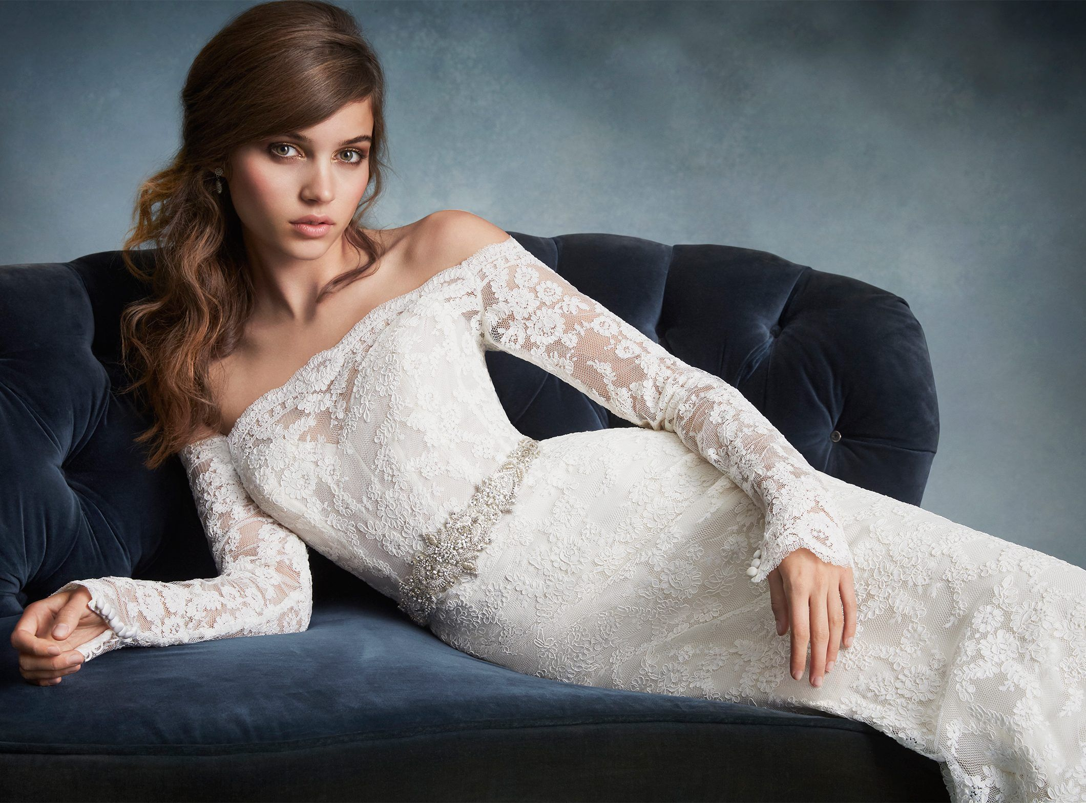 Ivory Alencon Lace Sheath Bridal Gown, Off The Shoulder