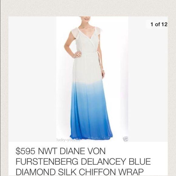 Gorgeous white and blue maxi dress DVF gorgeous white blue silk chiffon maxi dress.. Size 2 new with tags .. Lowest price new Diane von Furstenberg Dresses Maxi