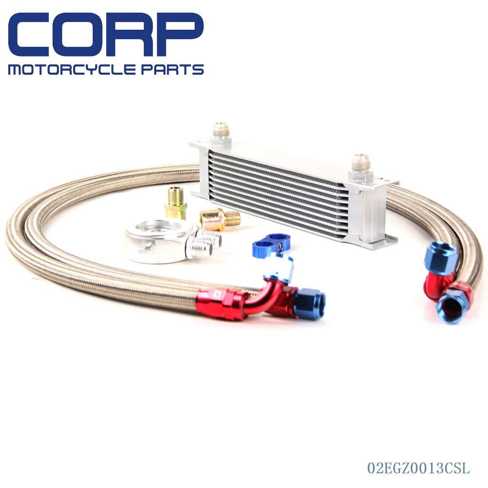 Filter Adapter Hose Kit 10 Row AN10 Universal Engine Transmission Oil Cooler