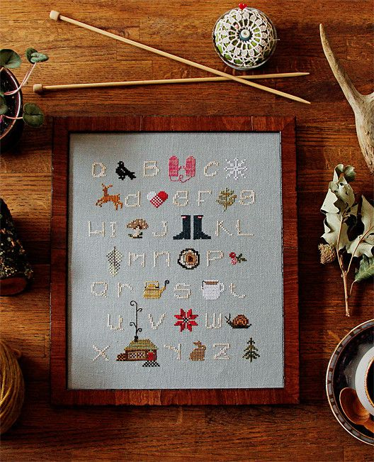 Entirely convinced I need this Winterwoods ABCs Cross Stitch Sampler Kit so I can hang the finished product in our home.