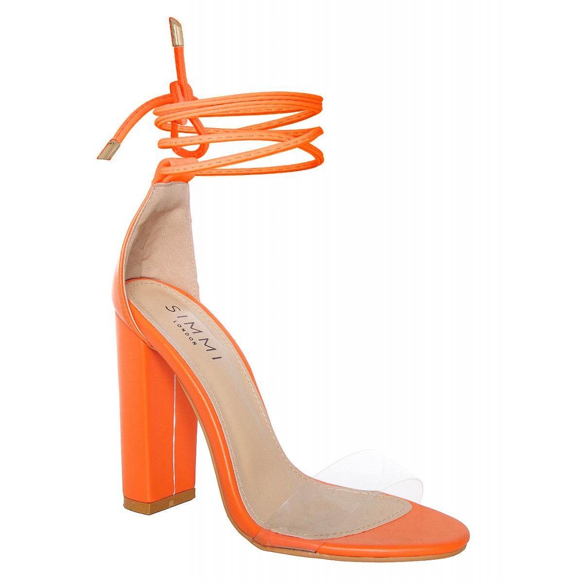 b5f911b891a Harley Orange Transparent Lace Up Block Heels : Simmi Shoes | Shoes ...