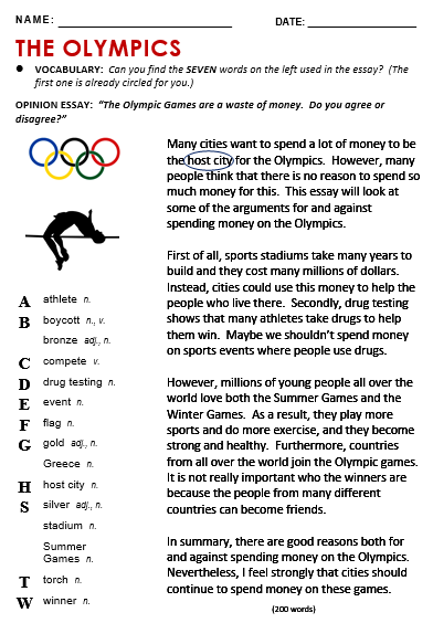 Olympic All Thing Topic Reading Comprehension Question Vocabulary Activitie Olympics Drug In Sport Essay