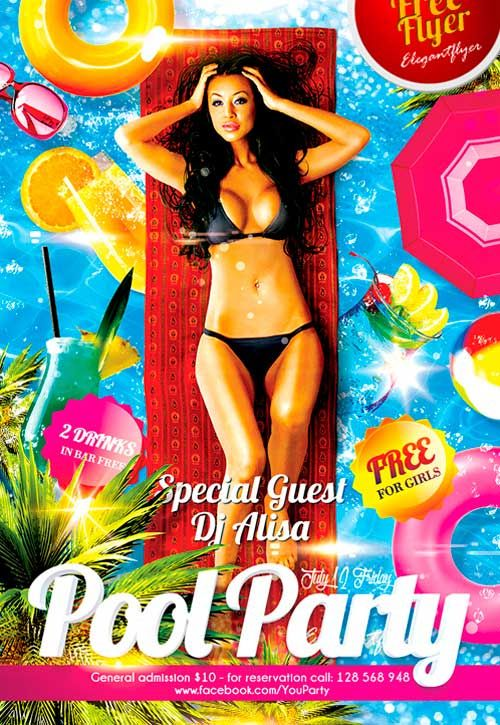 Free Pool Party PSD Flyer Template   Http://freepsdflyer.com/free
