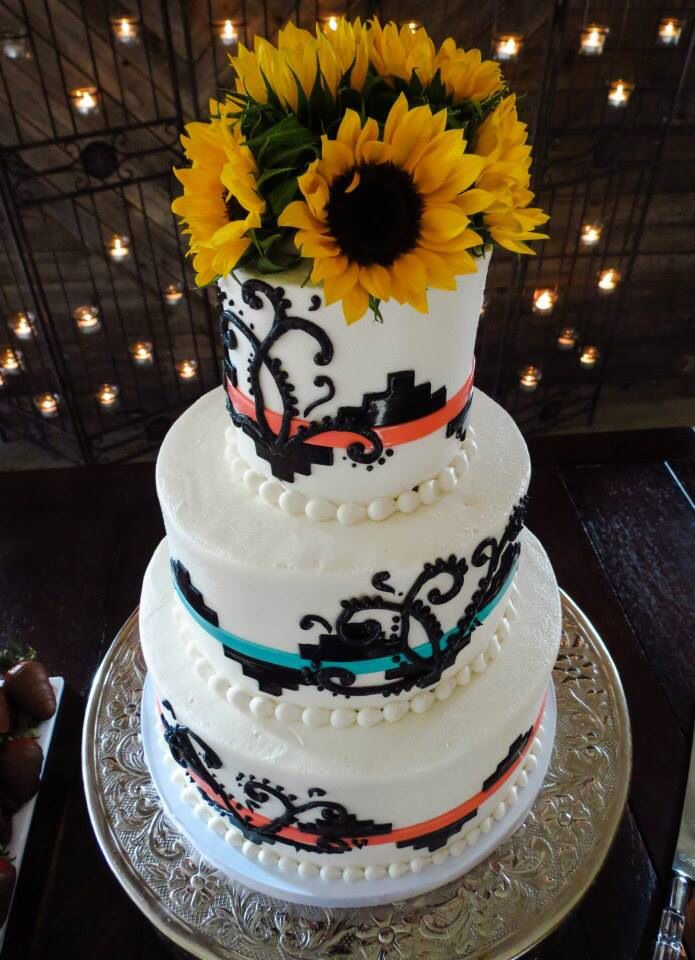 Heres My Cake Up Close Native Theme And All Turquoise And Coral Just Like My Jewelry