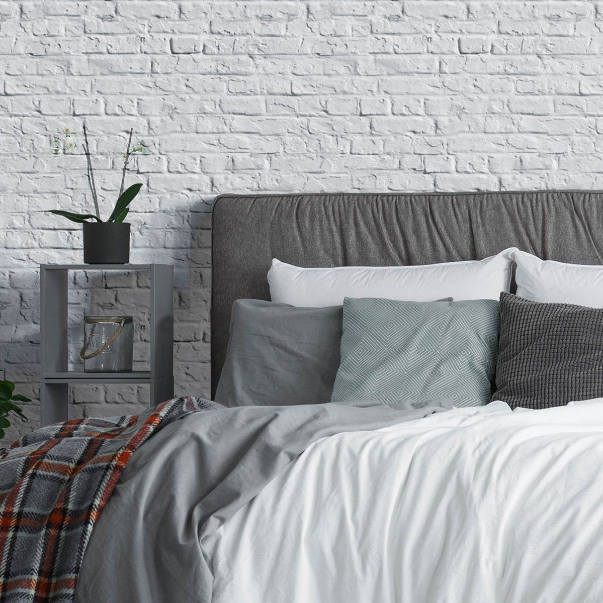 Grey Brick Texture Fabric Removable Wallpaper 8411 in 2020