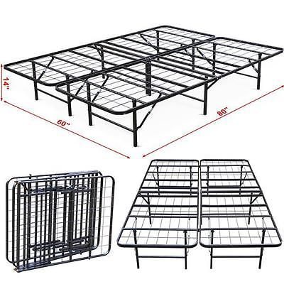 Platform Bed Frame Steel Heavy Duty, Foldable Queen Bed Frame With Storage