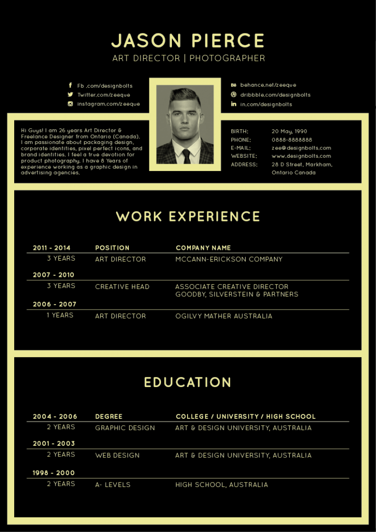 Free Black Elegant Resume Cv Design Template Resume Ai