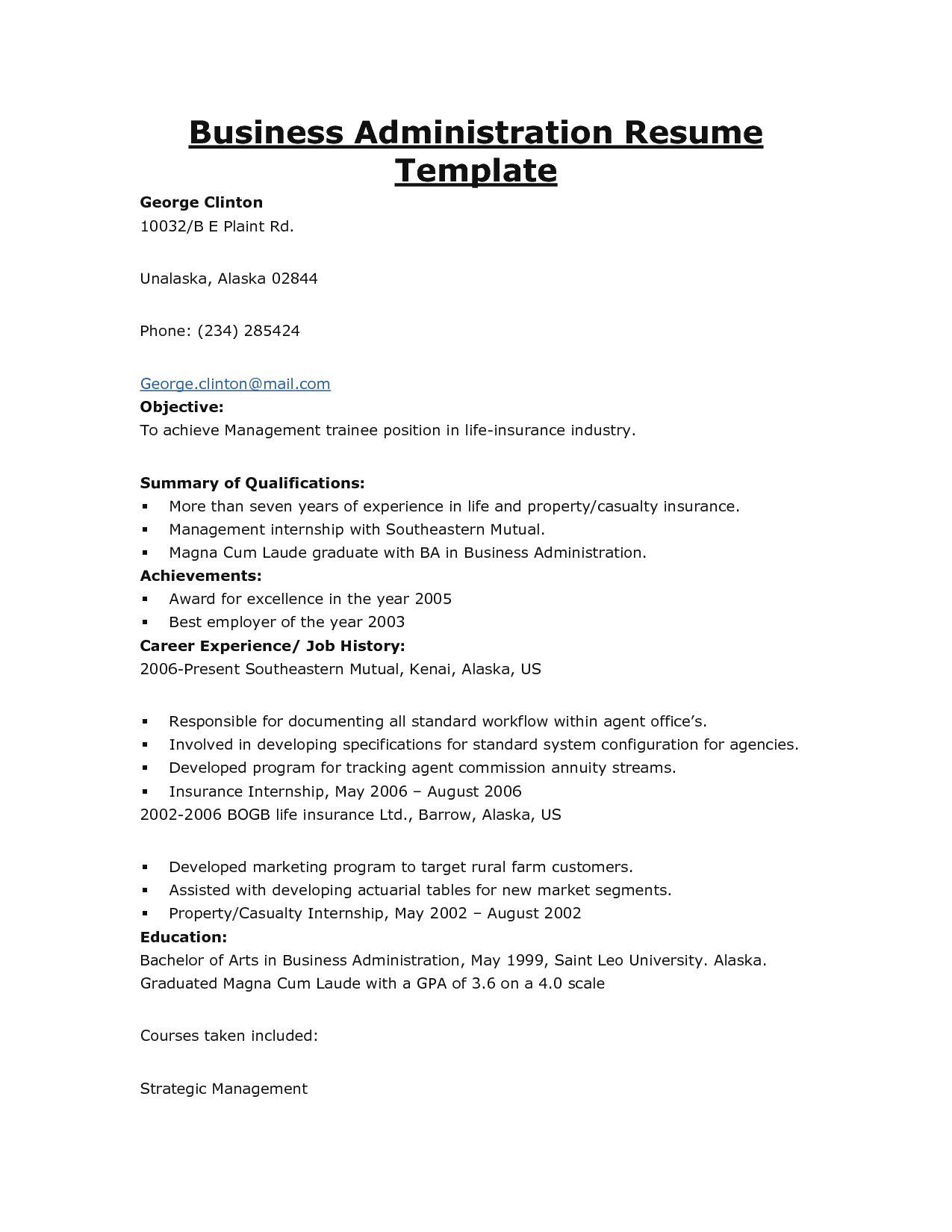 Ba Graduate Resume Sample Resume Examples Business Management Business Examples