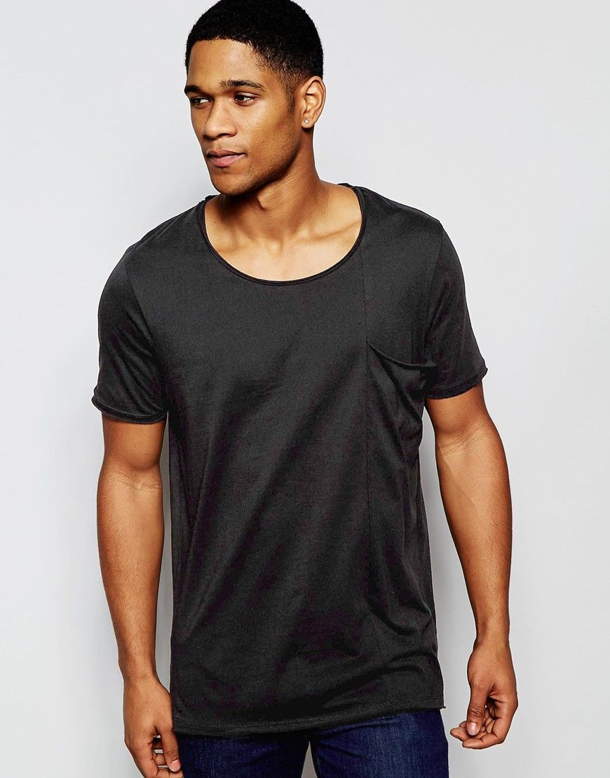 Image 1 of ASOS Longline T-Shirt With Big Drape Pocket And Raw Edge Scoop