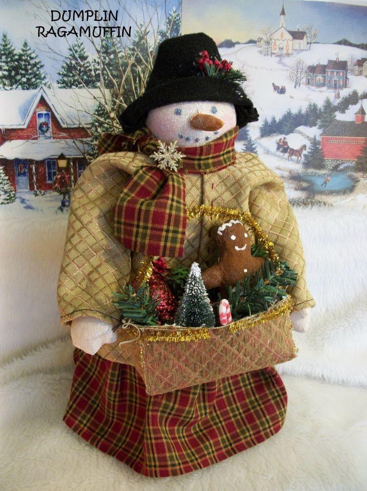 Primitive doll,folk art,Christmas home decor,Snowman, by - christmas home decor