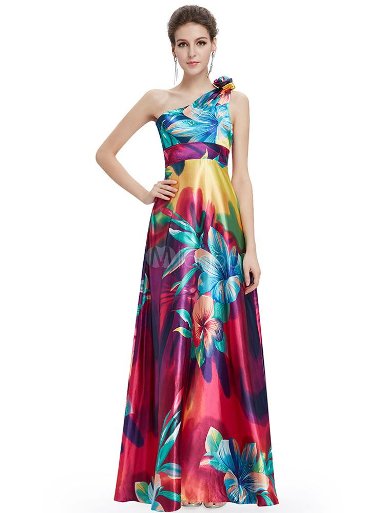 Long Prom Dresses 2018 African Print Prom Dress Floral Print One ...
