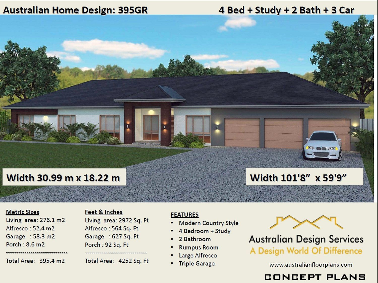 House Plans 4 Bed Study Home Plans For Sale 395 M2 Or Etsy Ranch Style Floor Plans House Plans Modern House Design