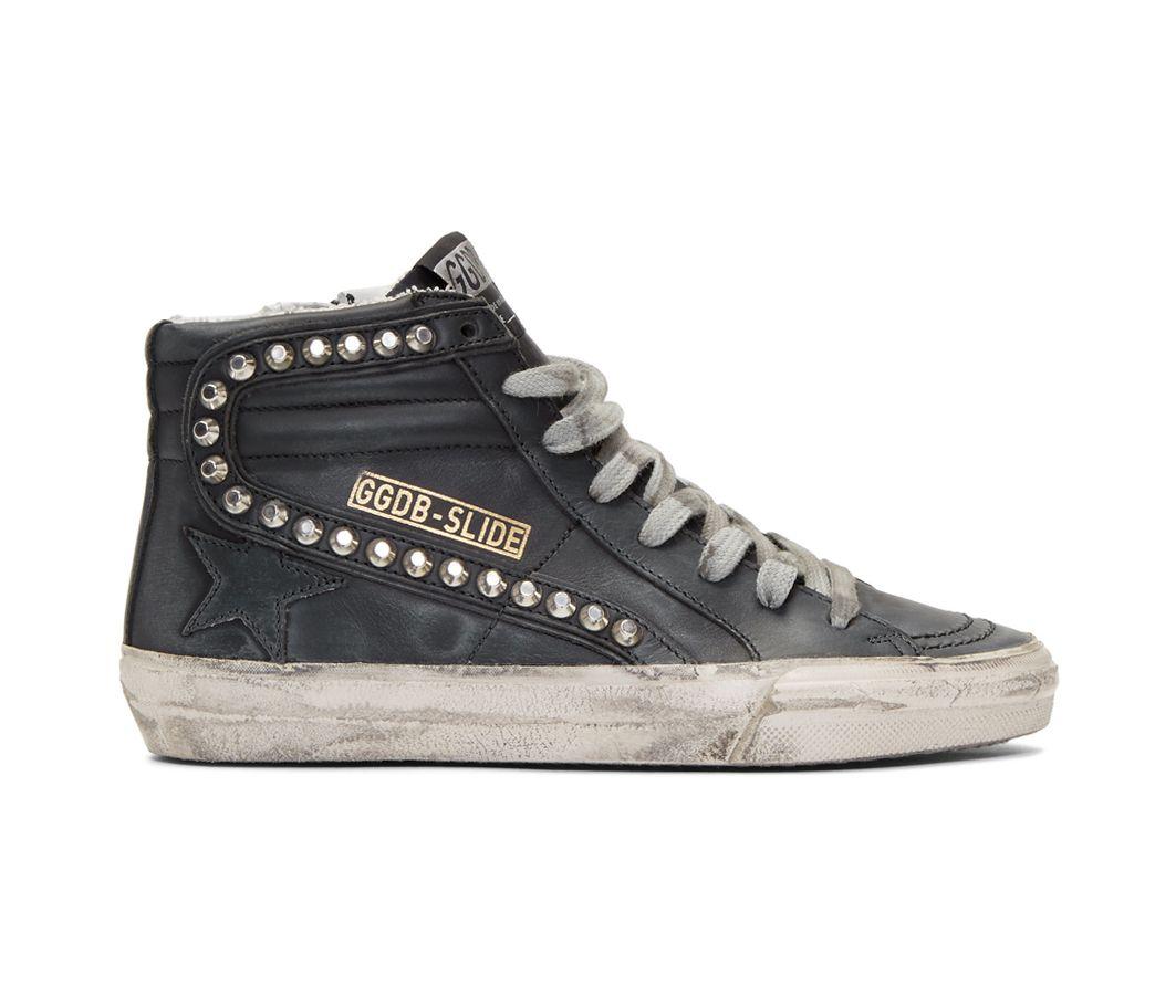Golden Goose Deluxe Brand Black Studded Slide Sneakers Shoppulp Golden Goose Deluxe Brand Black Studded Sneakers