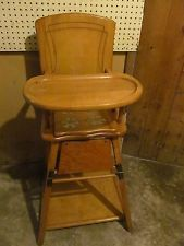 Antique Wooden Conversion High Chair to Play Table Potty