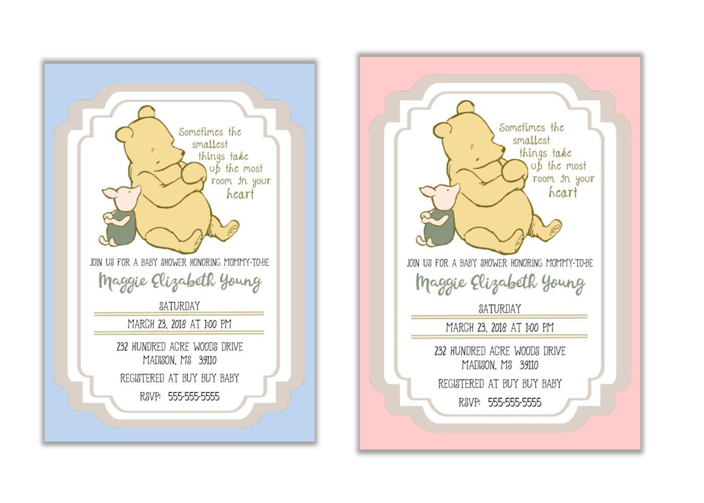 Baby Shower Invitation | Classic Winnie the Pooh | Piglet | Baby ...