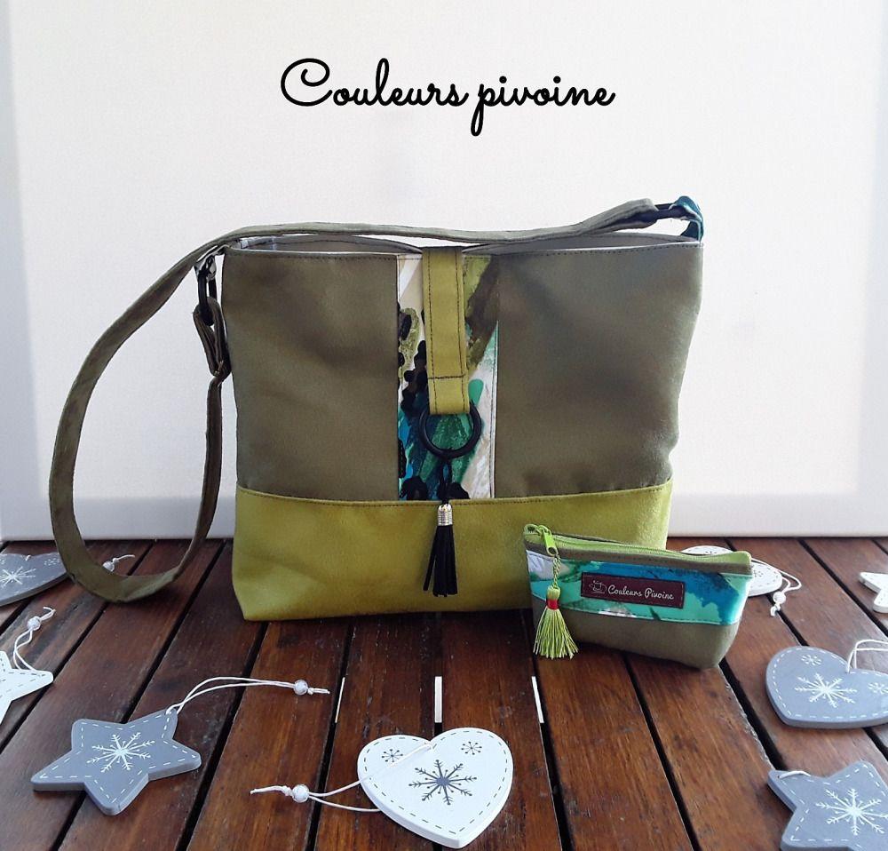 cbb97d9b24 Sac trapèze bandoulière et son porte monnaie assorti,sac à main,sac suédine  vert