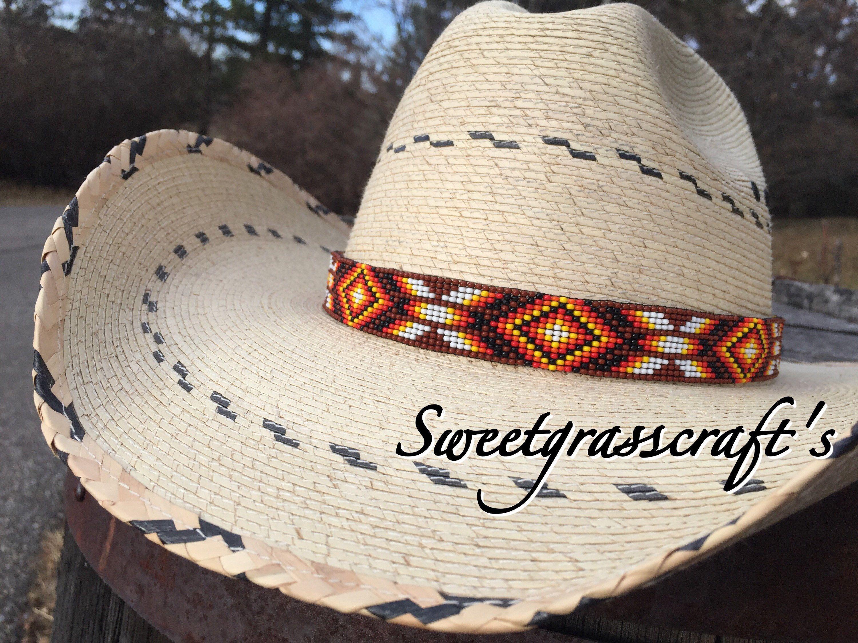 Beaded Cowboy Hat Band Custom Western Hat Band Native American Beaded Hat Band Western Hat Band Cowboy Hats Cowboy Hat Bands Beaded Hat