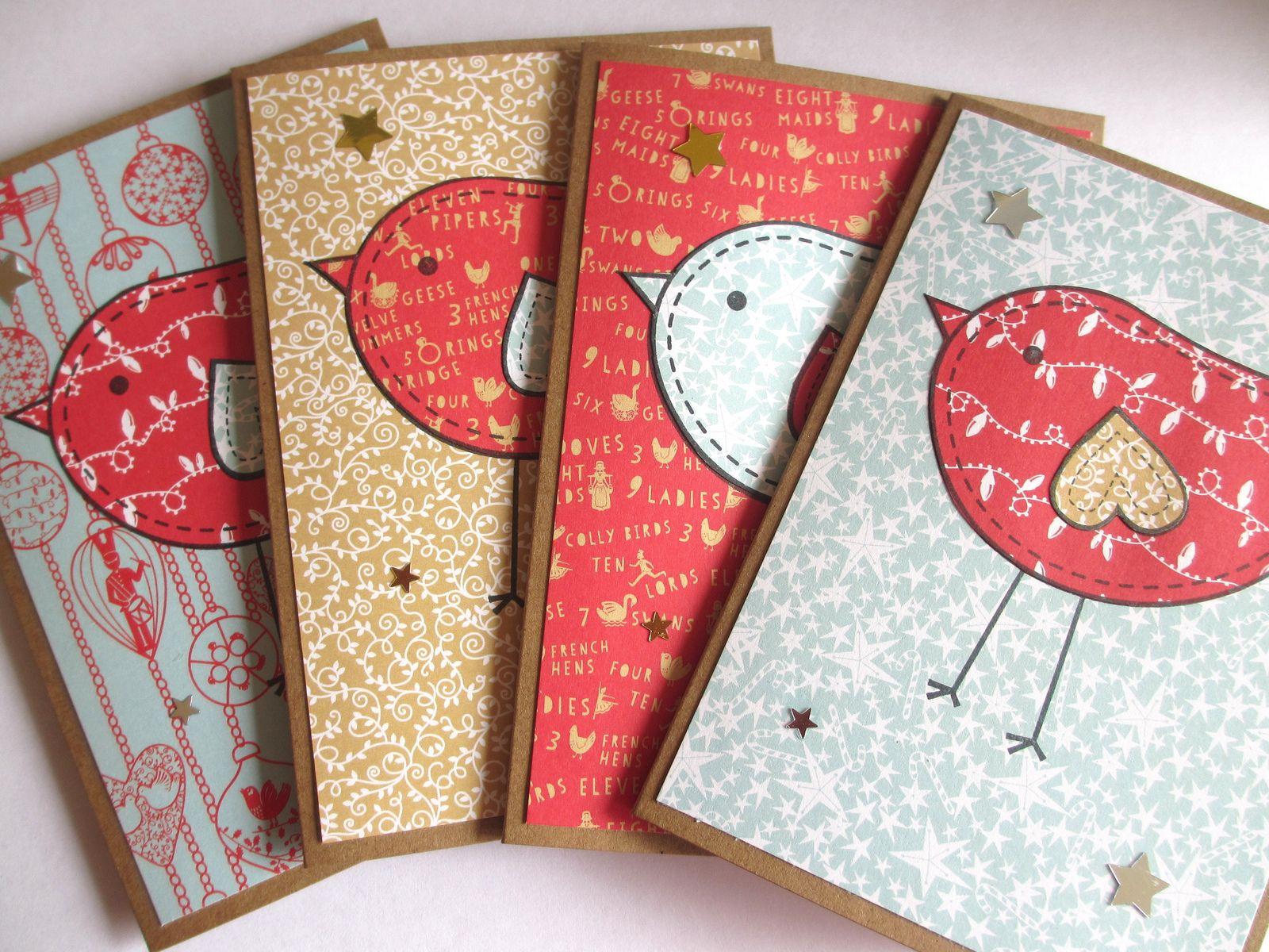 Little Bird Christmas cards Fabric cards, Homemade