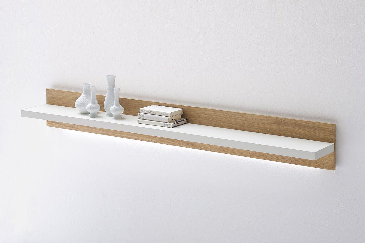 Wandregal modernes design  Wandregal Velvet Weiß Matt / Struktur Eiche Modernes Design ...
