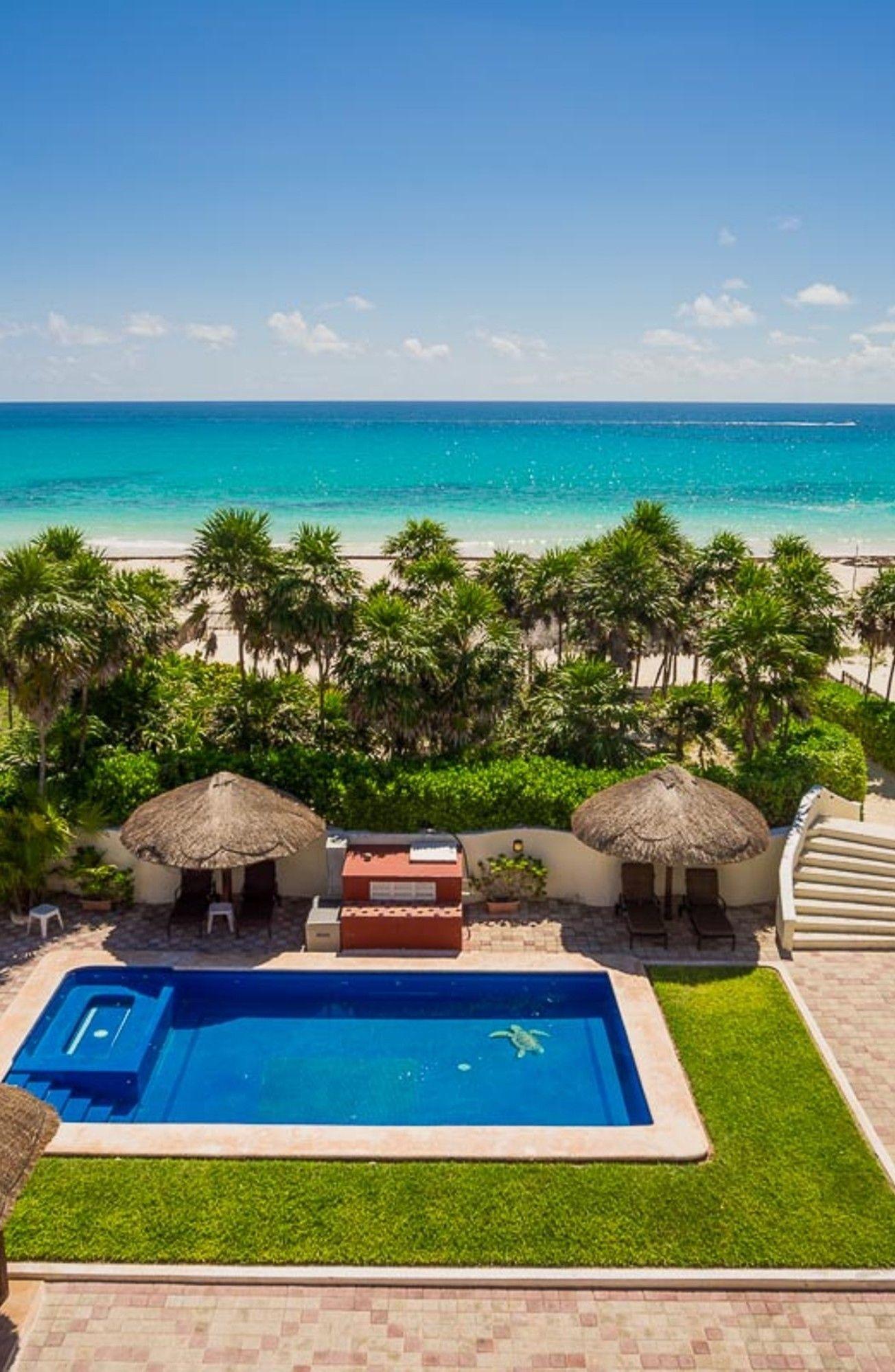 Sol Y Luna Mexico Private Pool Jacuzzi Sea View 20 Persons Villa Sol Y Luna Is An Oceanfront Villa With A Priv Luxury Rentals Luxury Villa Cancun Villas