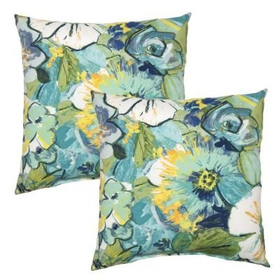 Hampton Bay 16 in. Rainforest Floral Outdoor Toss Pillow (2-Pack)-7050-02226200 - The Home Depot